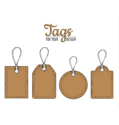 tags set vintage style vector image