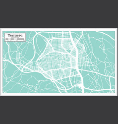 terrassa spain city map in retro style outline map vector image