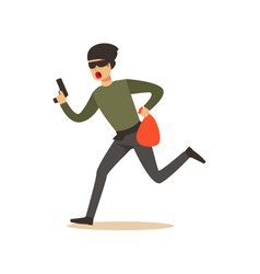 Thief in a mask running with a gun and a sack vector