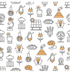 Thin line art innovations seamless pattern vector