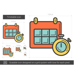 Timetable line icon vector
