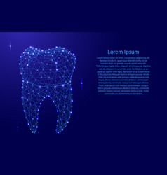 Tooth dental root from futuristic polygonal blue vector