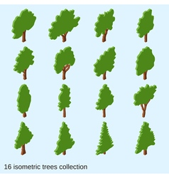 Trees flat isometric icons collection vector image