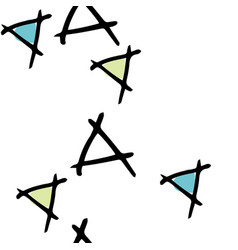 Tumbling triangles with white background hand vector