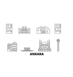Turkey ankara line travel skyline set turkey vector