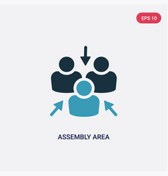 Two color assembly area icon from shapes concept vector
