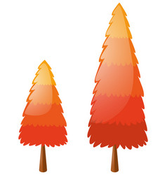 Two pine trees with orange leaves vector