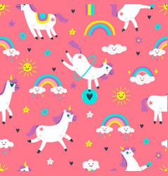 unicorn seamless pattern cute fairytale animals vector image