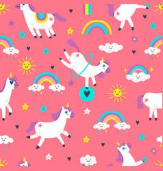 unicorn seamless pattern cute fairytale animals vector image