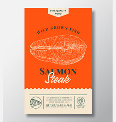 Wild salmon abstract packaging design vector