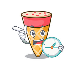 With clock ice cream tone character cartoon vector