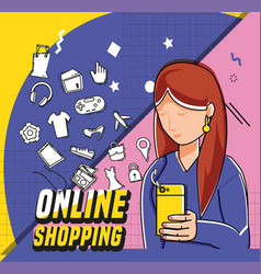 Woman with shopping online pop art style vector