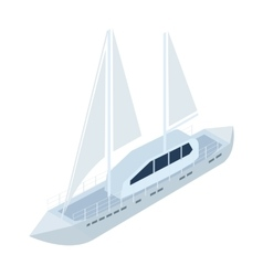 Yacht icon in cartoon style isolated on white vector