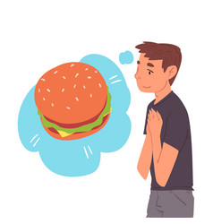 Young man dreaming about burger human thoughts vector