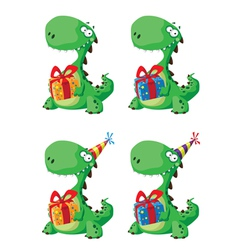 cute dinosaur with a gift set vector image