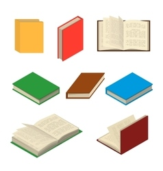 Isometric colorful books set vector image vector image