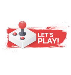 joystick gamepad on grunge background lets play vector image