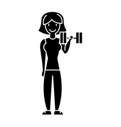 woman fitness with gym weights icon vector image