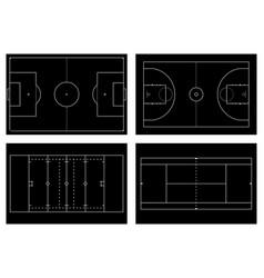 basketball court tennis court american football vector image vector image