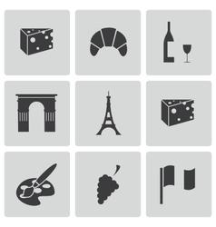 Black paris icons set vector