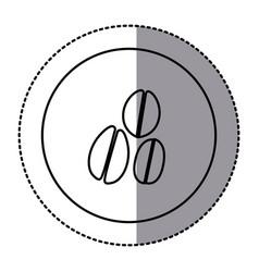 figure emblem grains coffee icon vector image