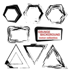 Grunge shapes Triangle squarehexagon Set of vector image vector image