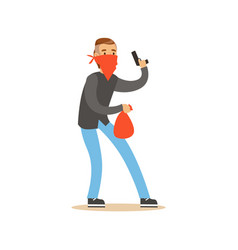 Masked Robber Holding A Gun And Carrying An Orange Vector Image
