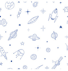 seamless space pattern in doodle style vector image vector image