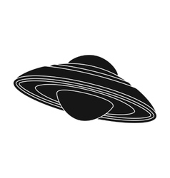 UFO icon in black style isolated on white vector image