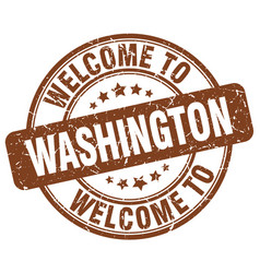 welcome to washington brown round vintage stamp vector image