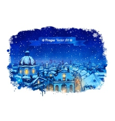 Winter Prague cityscape vector image