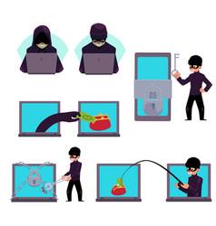 computer hacker working on laptop stealing money vector image