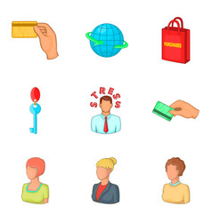 employee stress icons set cartoon style vector image