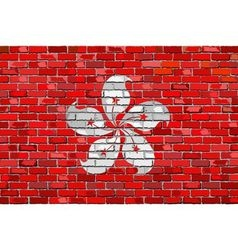 Flag of Hong Kong on a brick wall vector image vector image