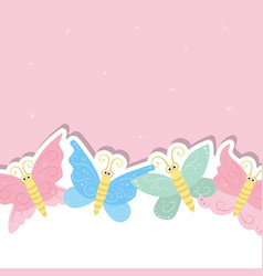 greeting card with cute butterflies greeting card vector image