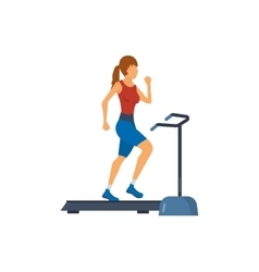 Young adult woman running on treadmill in fitness vector image