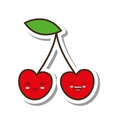 cherry fresh fruit kawaii style isolated icon vector image