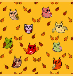 owl leaves seamless pattern vector image