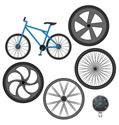 set of different wheels bike and speedometer vector image