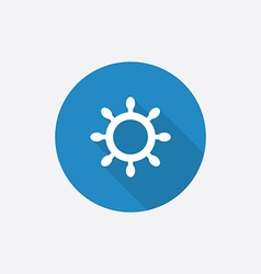 ship wheel Flat Blue Simple Icon with long shadow vector image