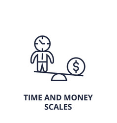 time and money scales line icon outline sign vector image