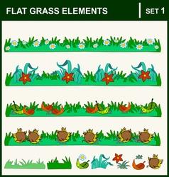 0915 10 flat grass elements set1 v vector