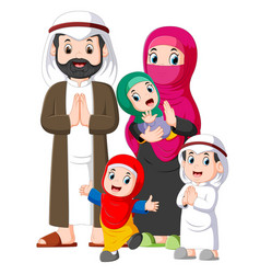 a muslim family giving greeting forgiveness vector image