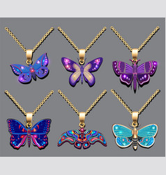 a set butterfly pendants with precious stones vector image