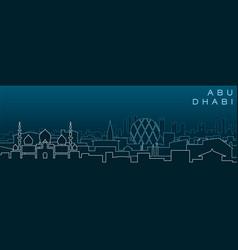 Abu dhabi multiple lines skyline and landmarks vector