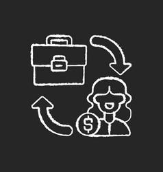 B2c marketing chalk white icon on black background vector