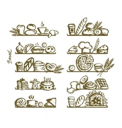 Bakery on shelves sketch for your design vector image