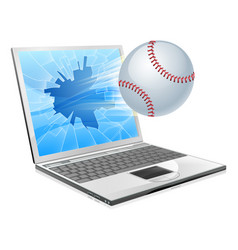 baseball ball laptop vector image