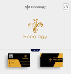 bee molecular dna logo template and business card vector image