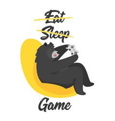 Black bear design for t-shirt vector